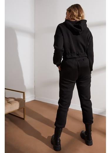 Setre Lila Kapüşonlu Eşofman Takımı Siyah